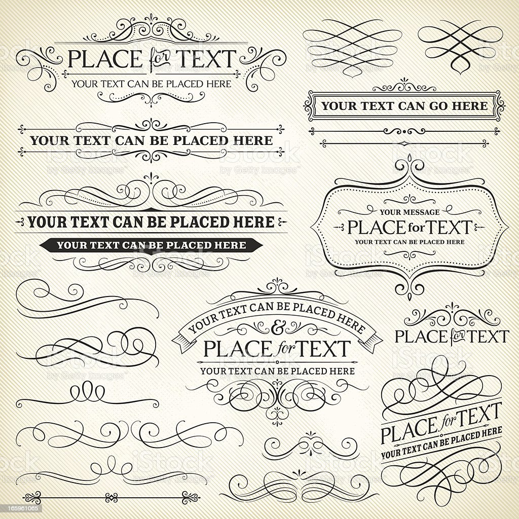 Vintage Frames and Scroll Elements vector art illustration