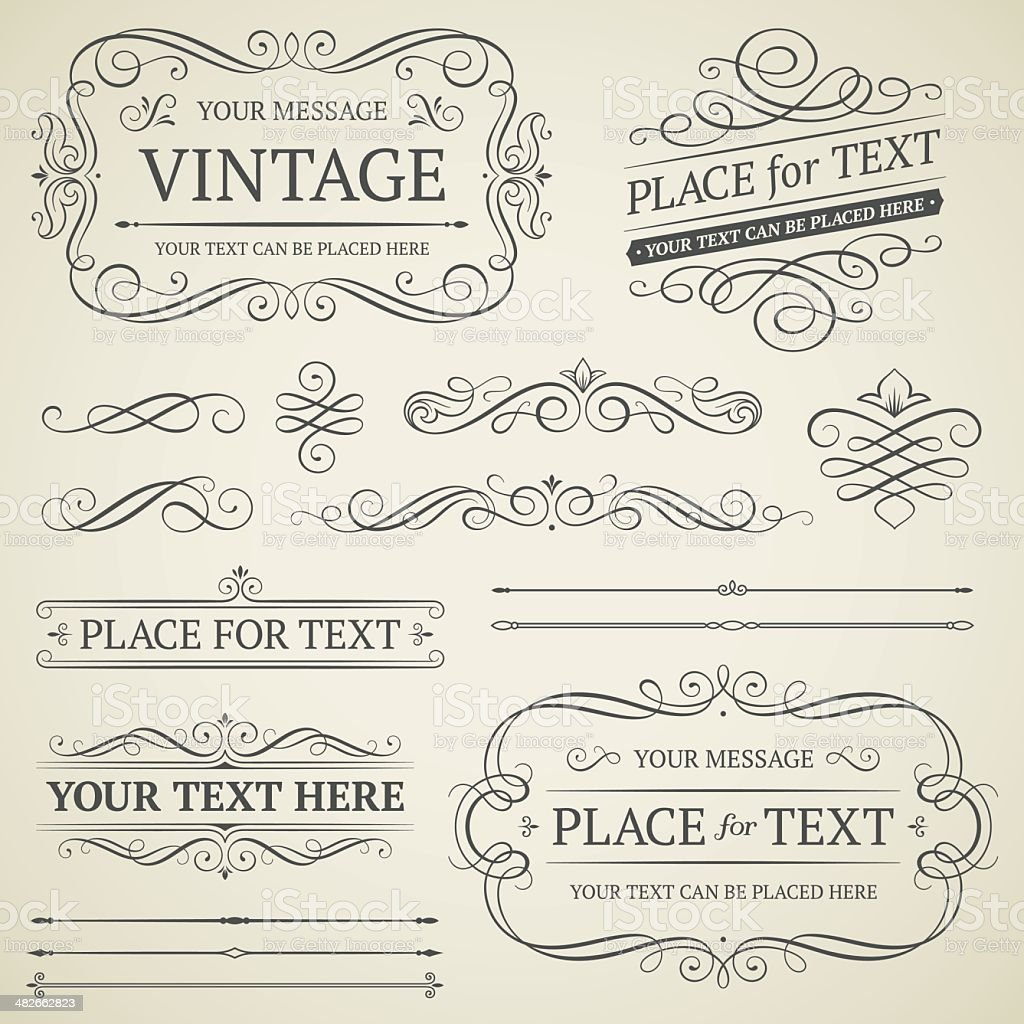 Vintage frames and scrolls vector art illustration
