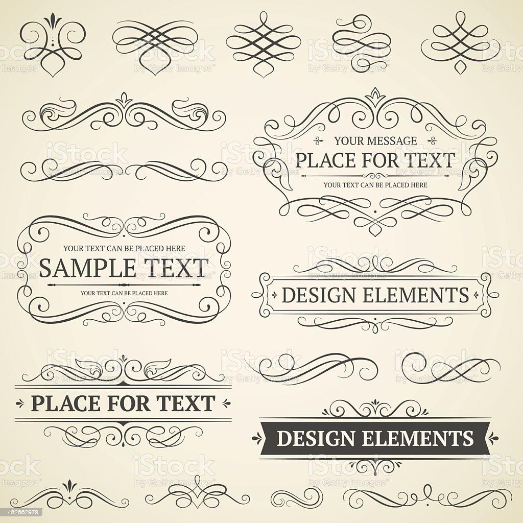 vintage frames and scrolls vector art illustration