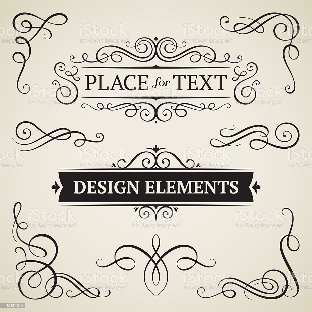 Vintage frames and swirls vector art illustration