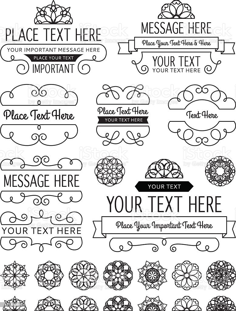 Vintage Frames, Badges and Elements vector art illustration