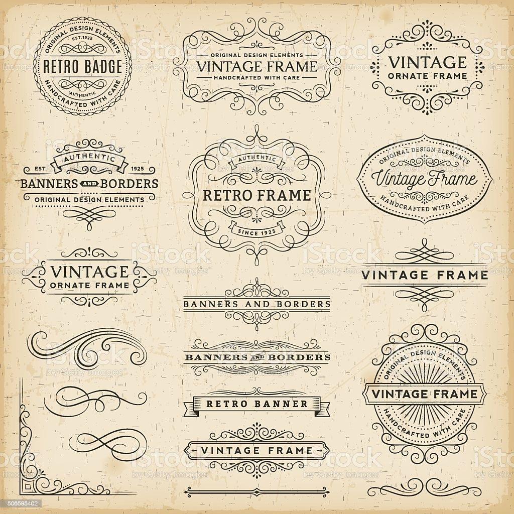 Vintage Frames, Banners and Badges vector art illustration