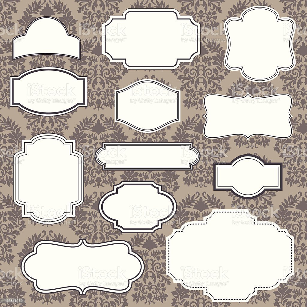 Vintage Frames on Damask Background vector art illustration