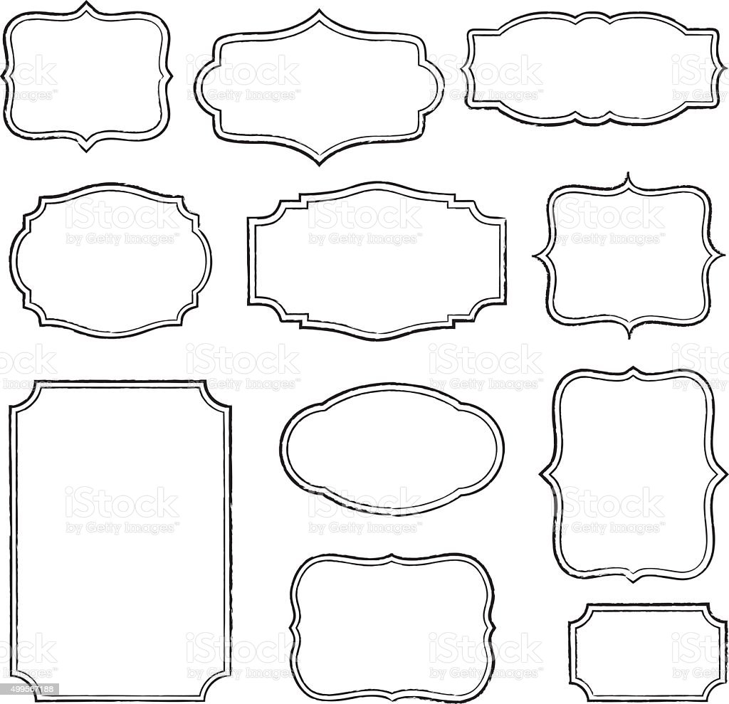 Black Frame Glasses Vector : Vintage Frames stock vector art 499567188 iStock