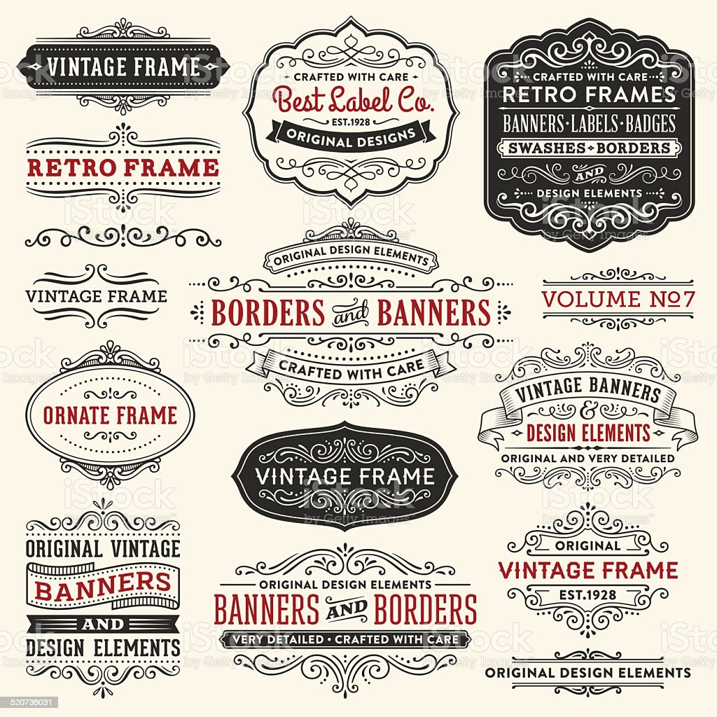 Vintage Frames,Banners and Badges vector art illustration