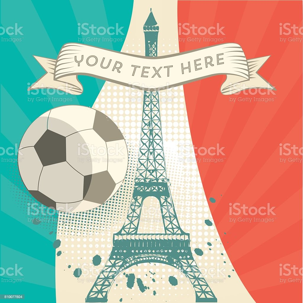 vintage france soccer background with Eiffel Tower stock photo