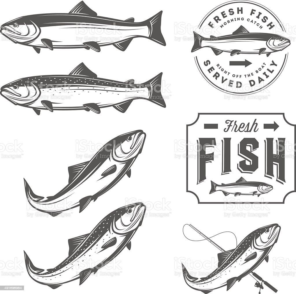 Vintage fresh fish salmon emblems, badges and design elements set vector art illustration