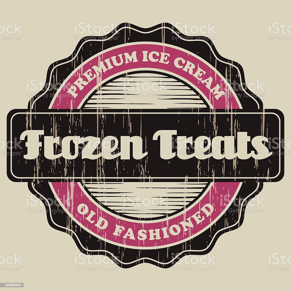 Vintage Frozen Treats Label vector art illustration