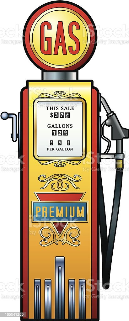 Vintage fuel pump royalty-free stock vector art