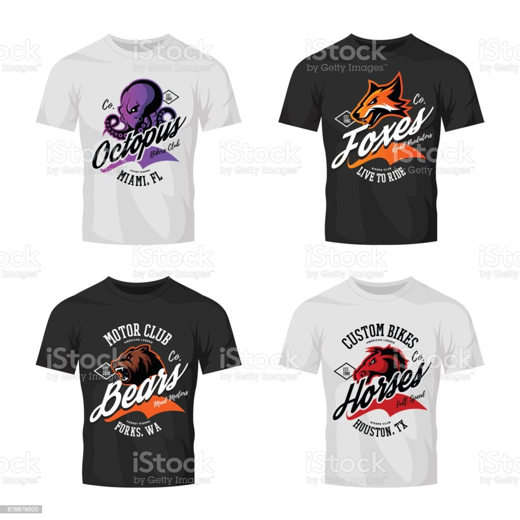 Shirt design octopus - Vintage Furious Octopus Bear Fox And Horse Bikers Club Tee Print Vector Design On