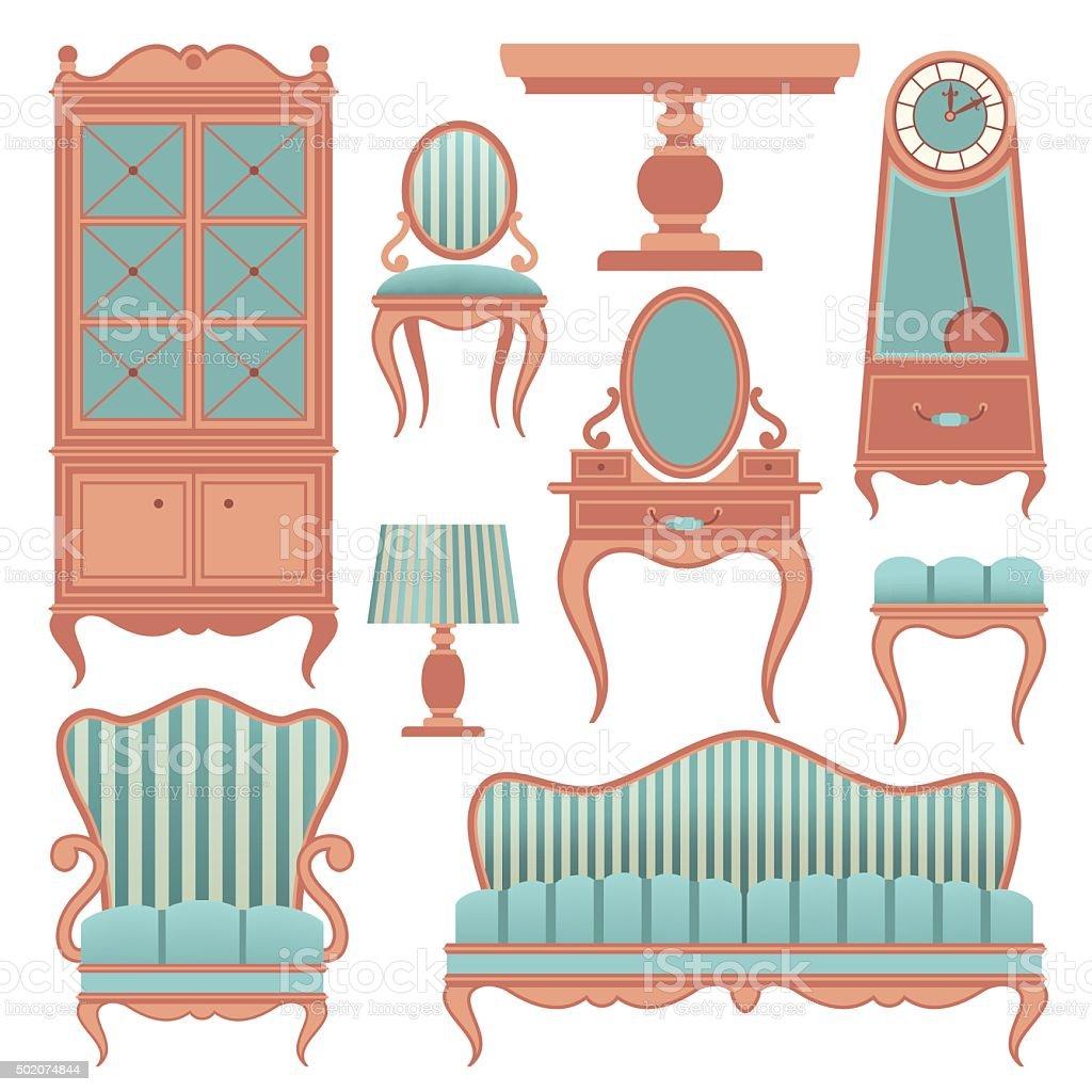 vintage furniture vector art illustration