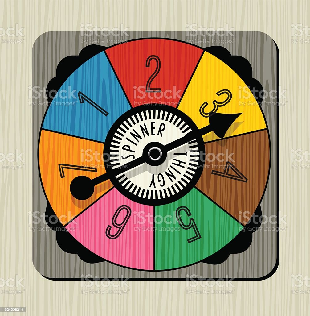 vintage game spinner with numbers and arrow vector art illustration