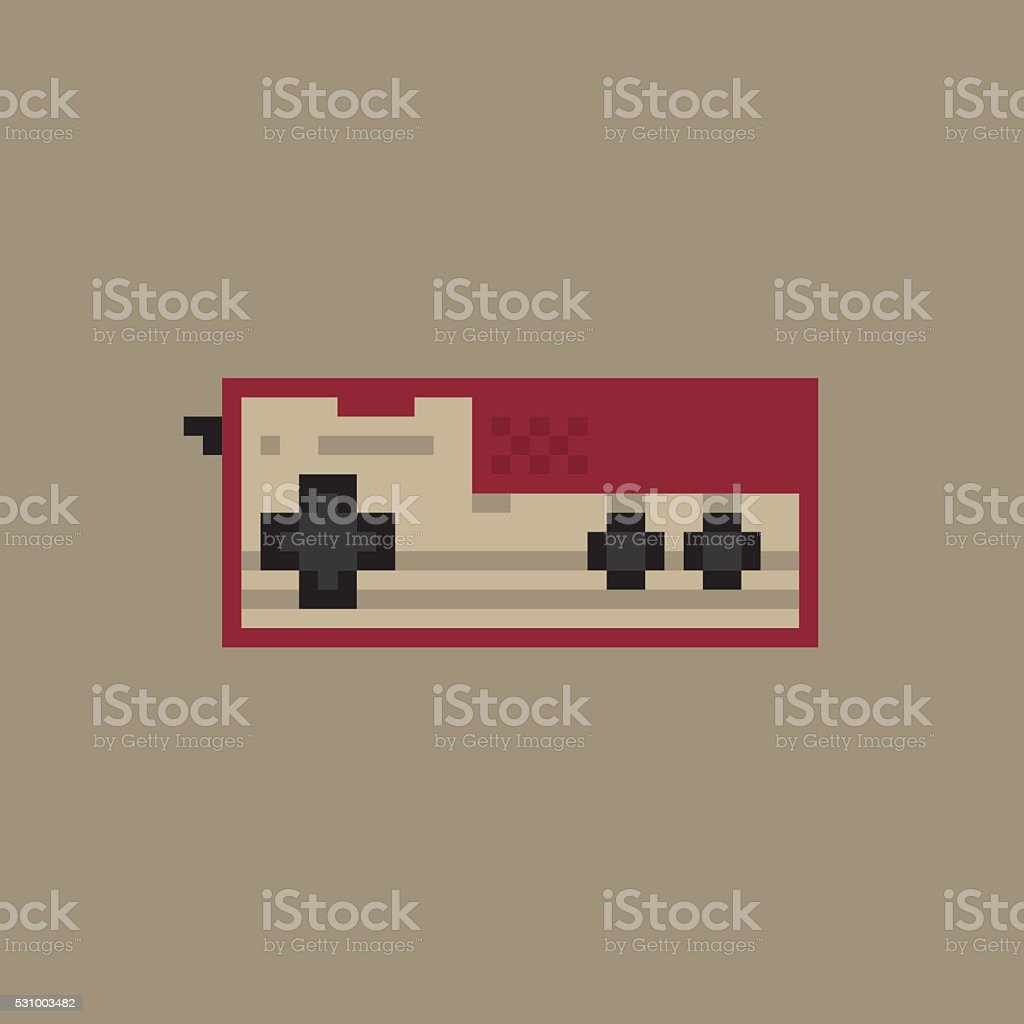 Vintage gamepad. Pixel art style joystick vector vector art illustration