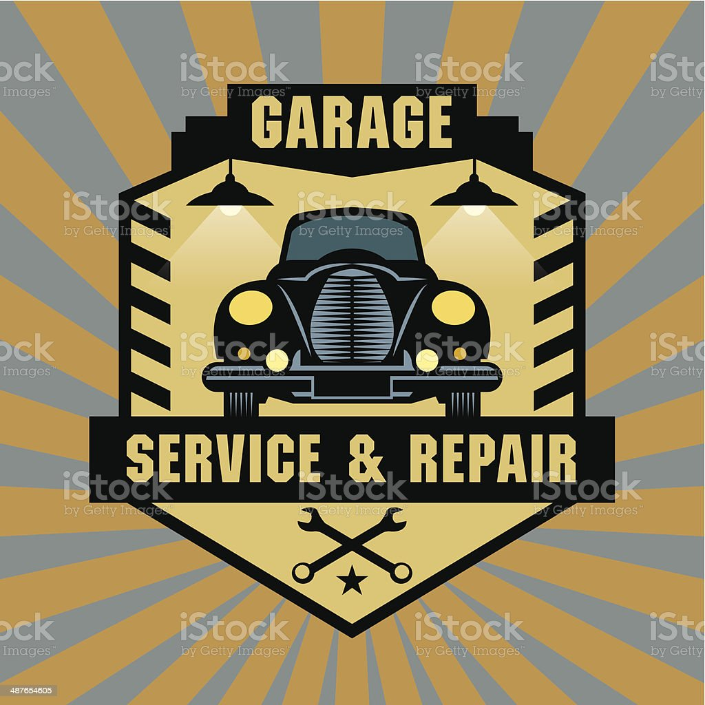 Vintage Garage label vector art illustration