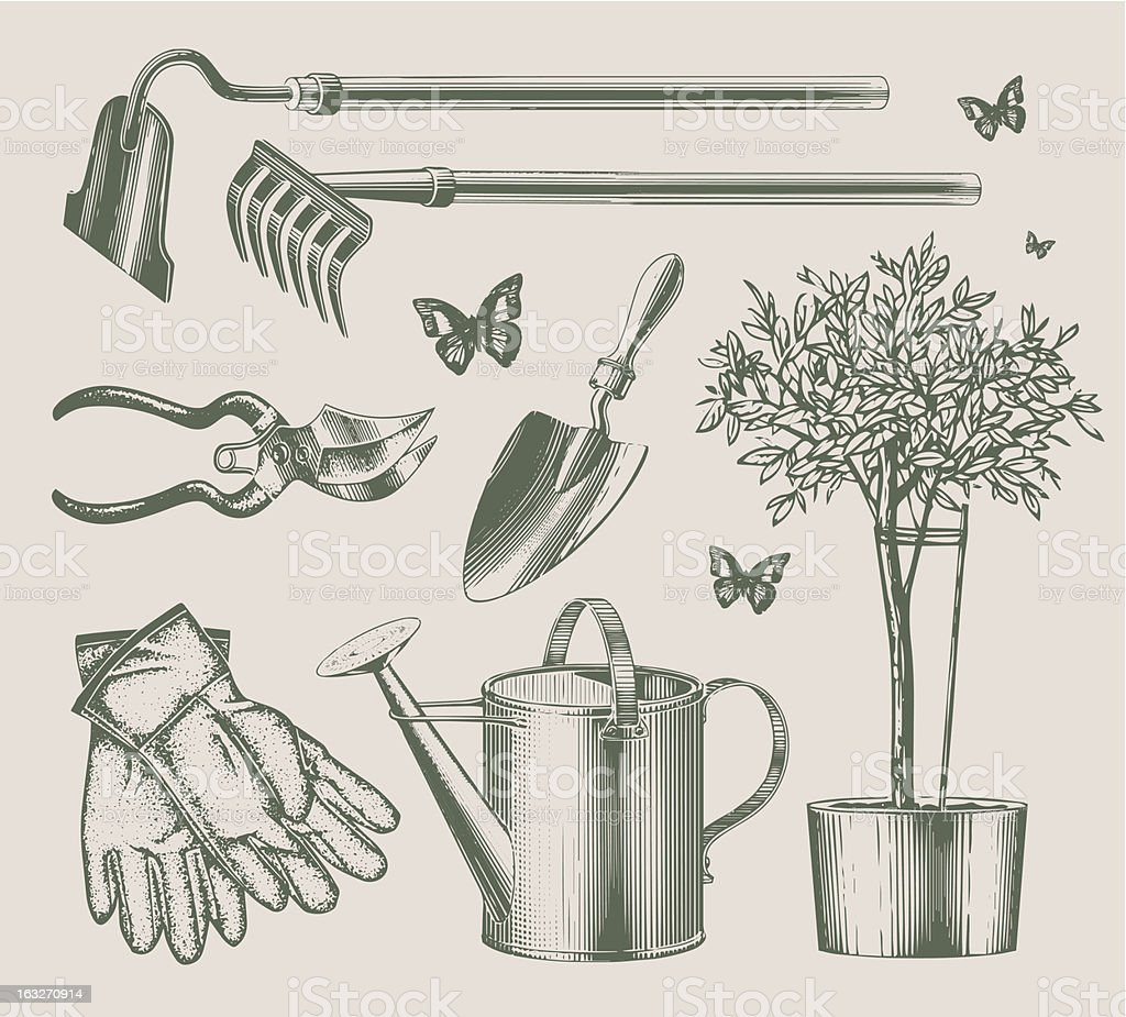 Vintage garden equipments vector art illustration