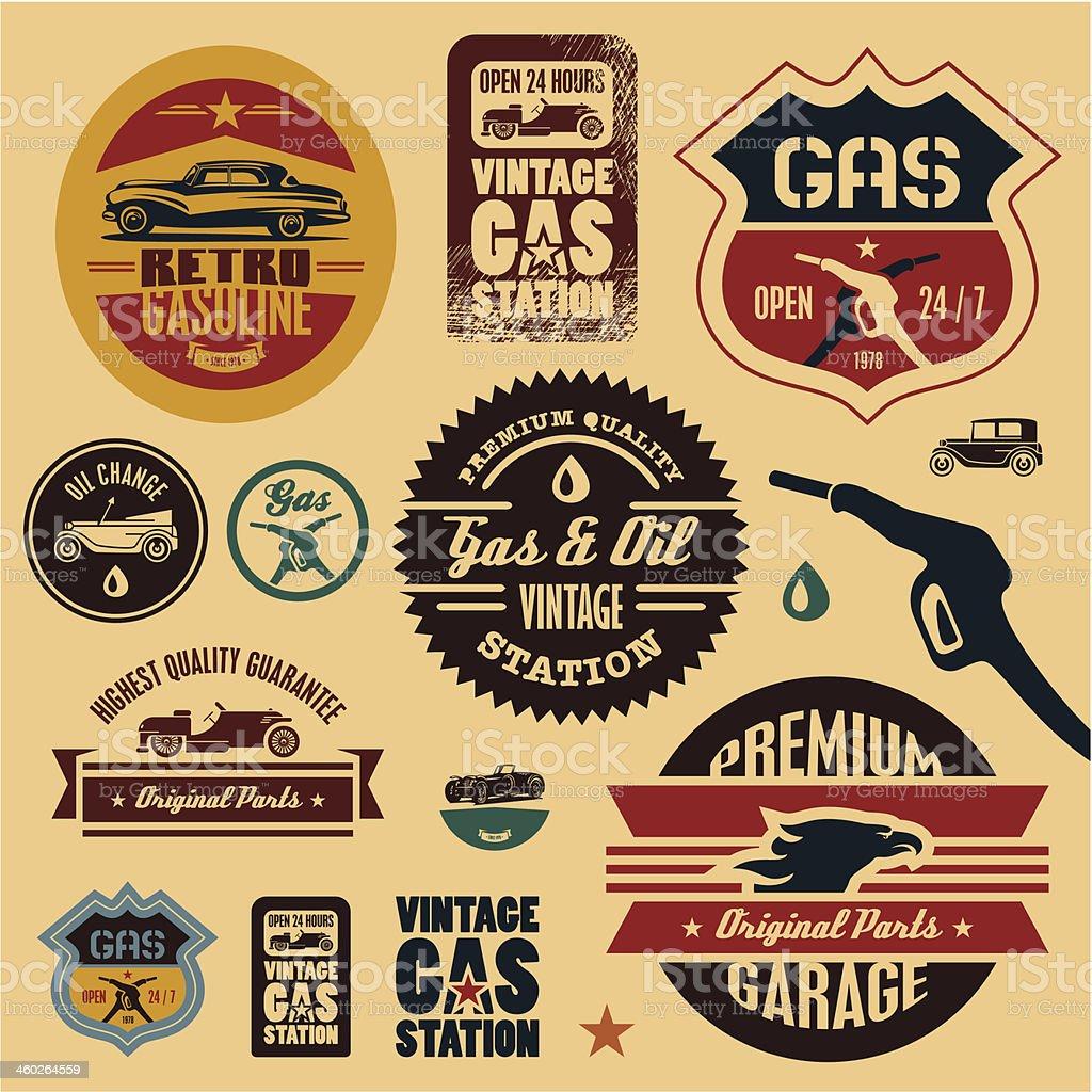 Vintage Gas station labels vector art illustration