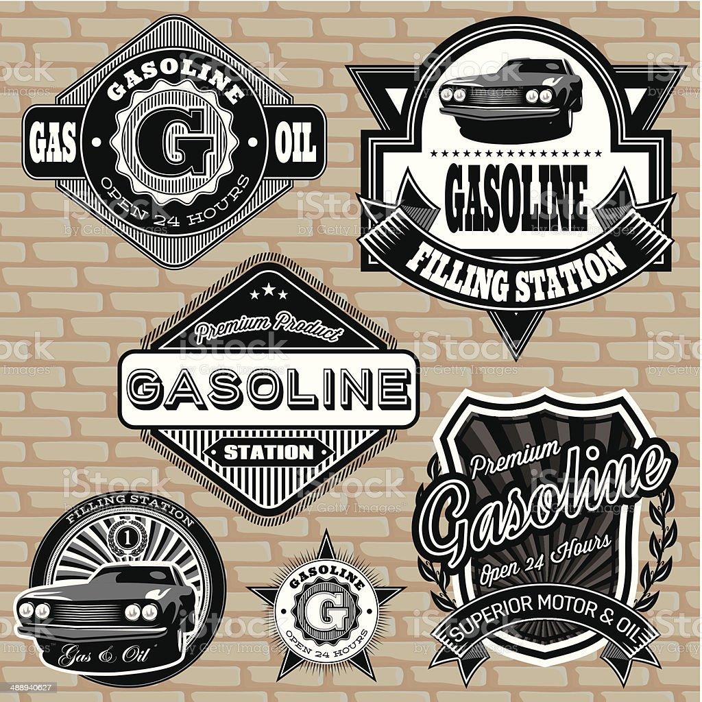 Vintage gasoline labels vector art illustration