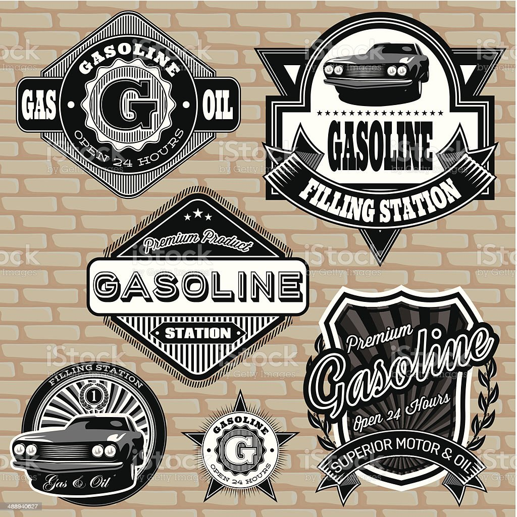 Vintage gasoline labels vector art illustration