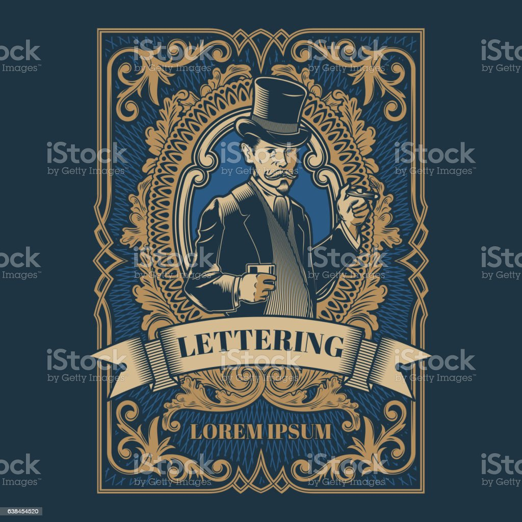 Vintage gentleman emblem, signage vector art illustration