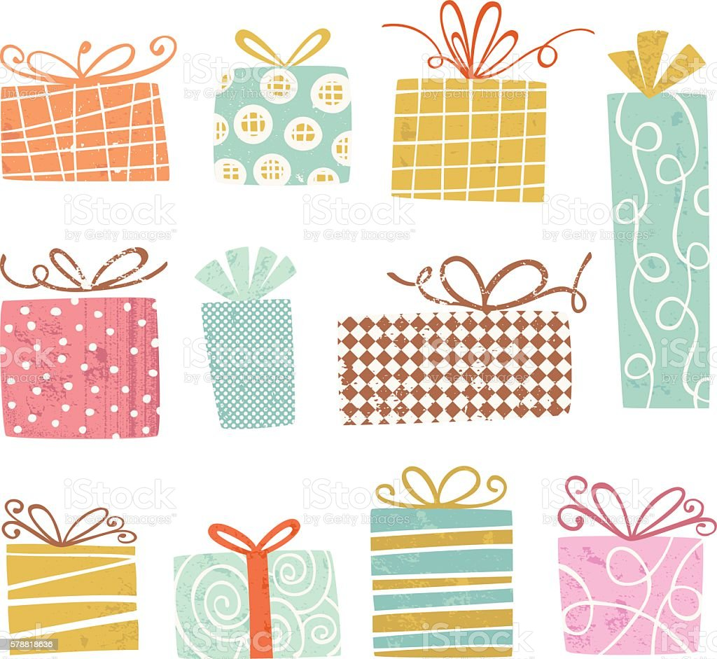 Vintage gift Boxes vector art illustration