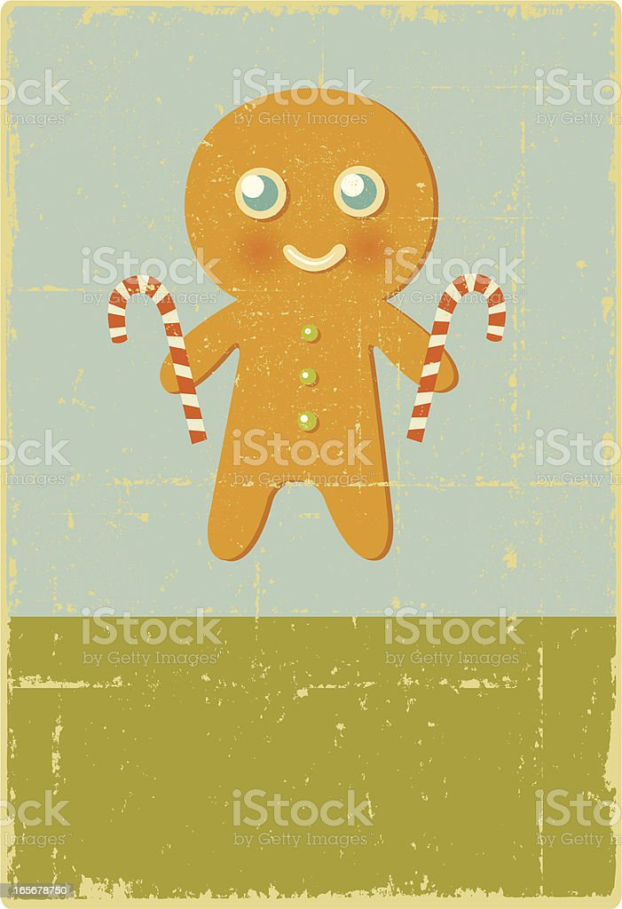 Vintage Gingerbread Man Sign royalty-free stock vector art