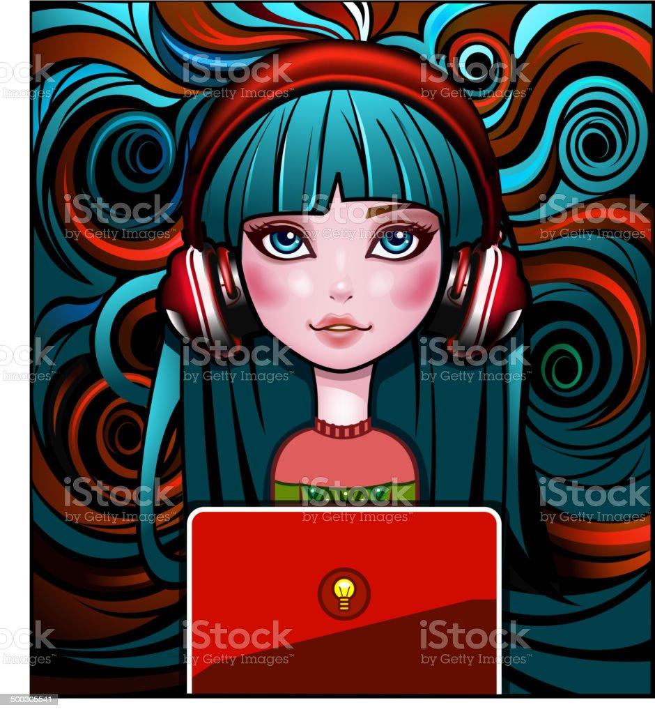 Vintage Girl with laptop vector art illustration