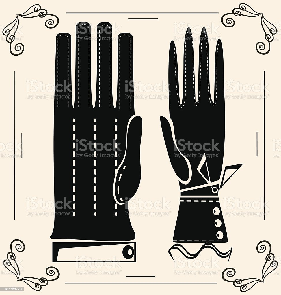 vintage gloves royalty-free stock vector art