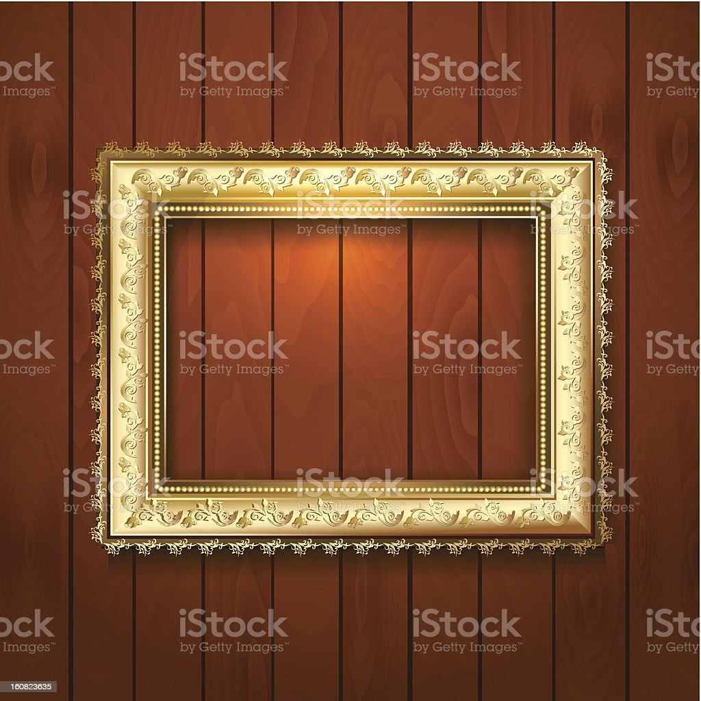 Vintage gold frame on a wooden texture royalty-free stock vector art