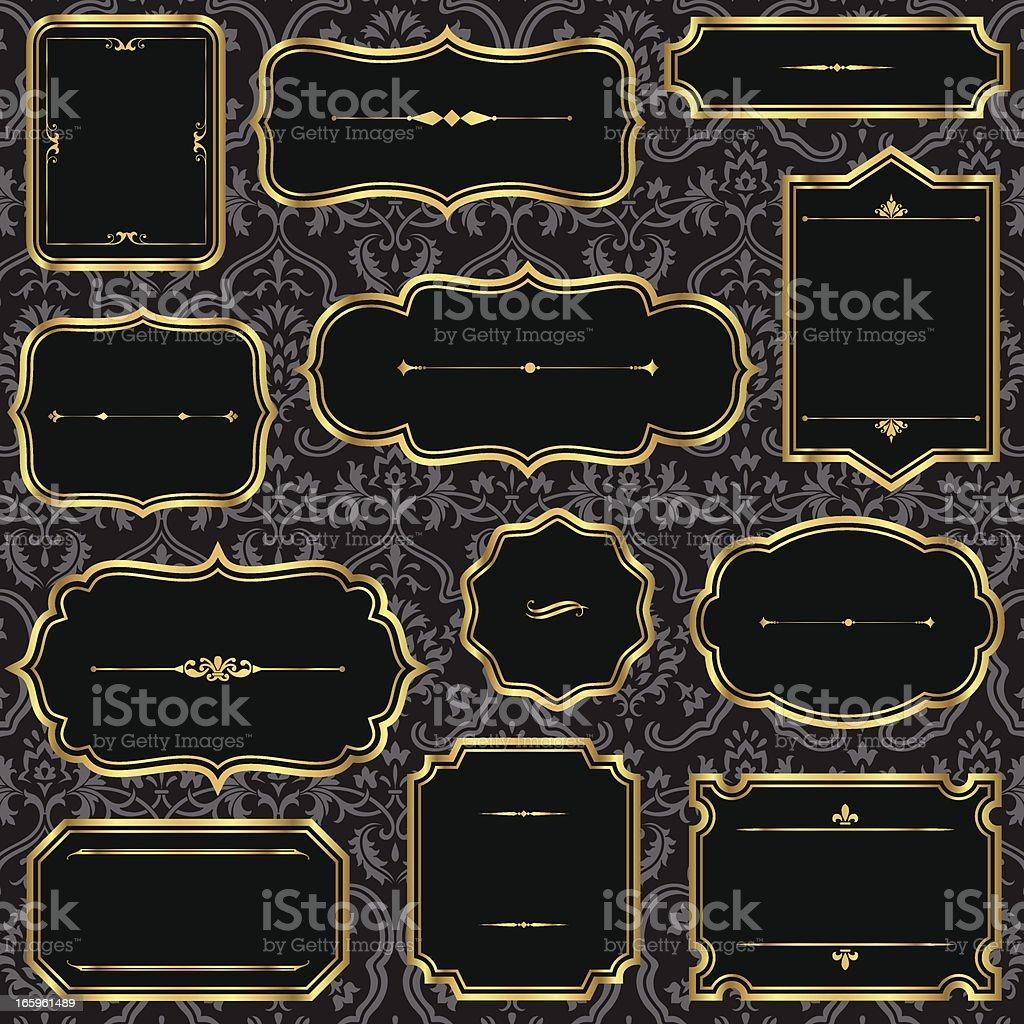 Vintage Gold Frames on Damask Background royalty-free stock vector art