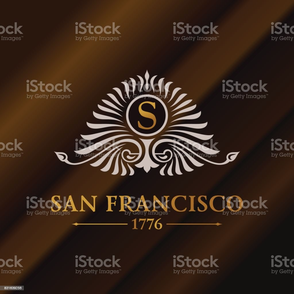 Vintage gold hipster label with lettering San Francisco. icon template for your sign, poster, clothing, badge vector art illustration