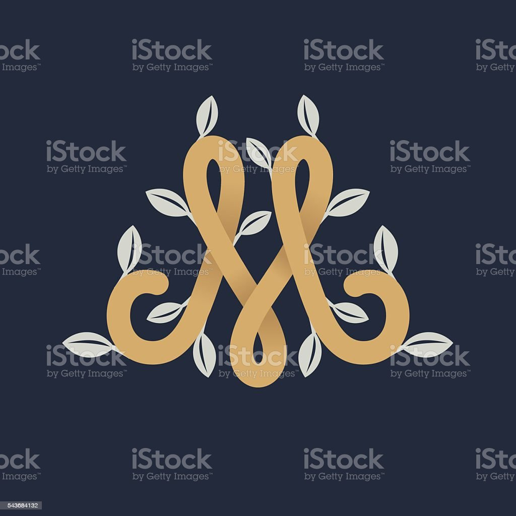 Vintage gold letter M icon with silver leaves. vector art illustration