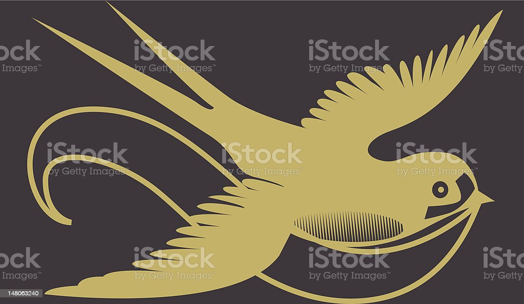 vintage gold swallow illustration royalty-free stock vector art