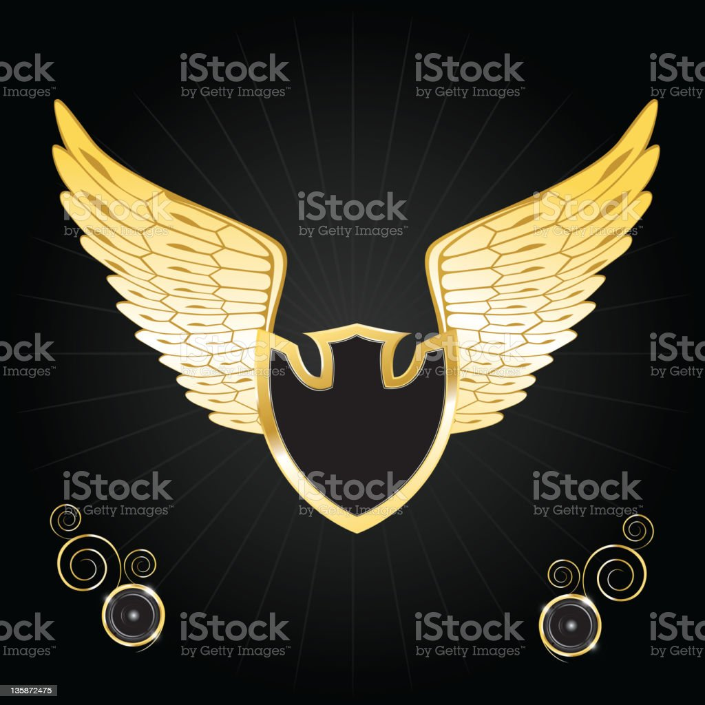 Vintage golden wings and shield royalty-free stock vector art