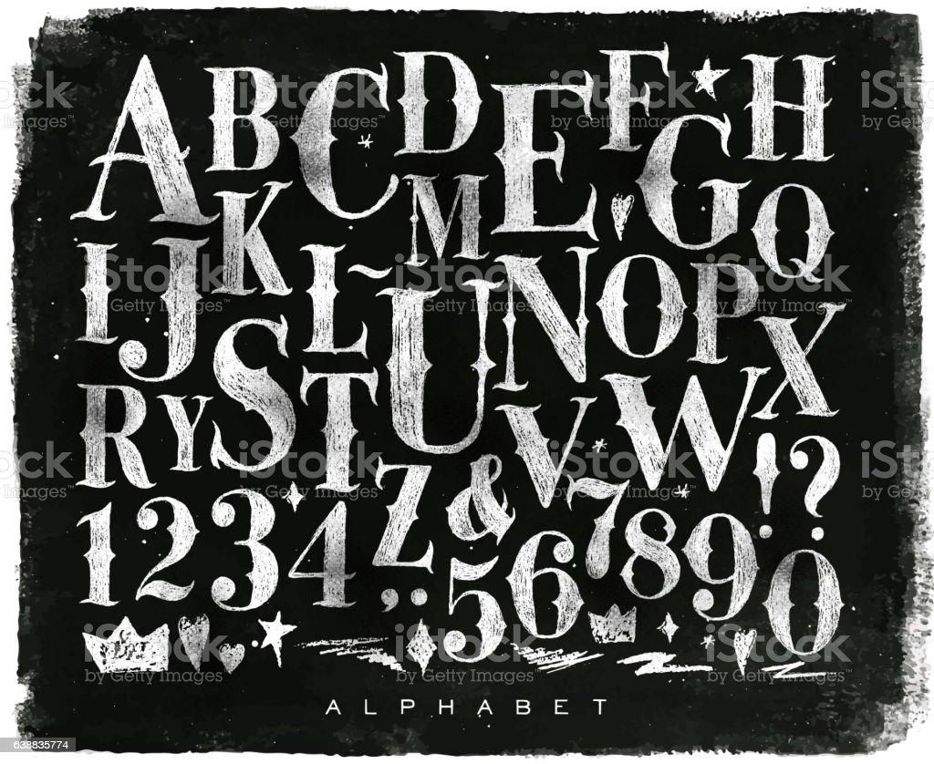 Vintage gothic alphabet chalk vector art illustration