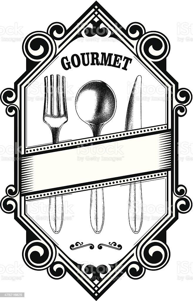 vintage gourmet shield vector art illustration