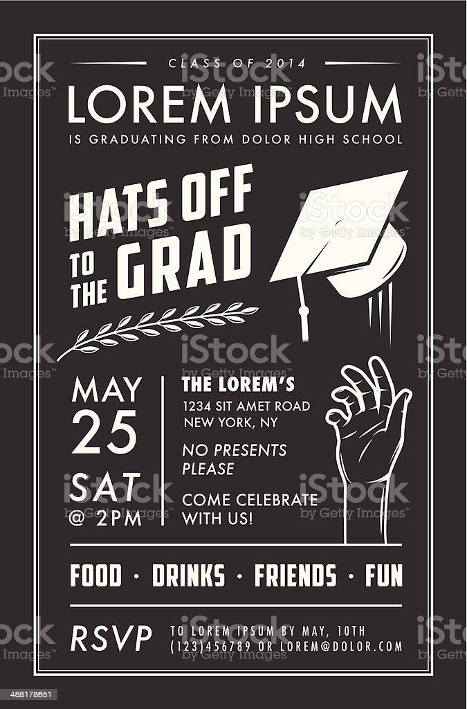 Vintage graduation party invitation card royalty-free stock vector art