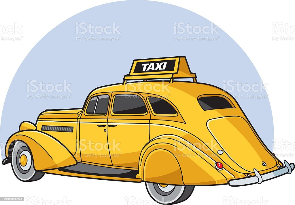 Vintage grand taxi vector art illustration