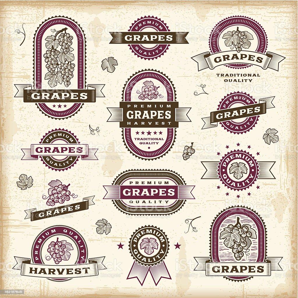 Vintage grapes labels set royalty-free stock vector art