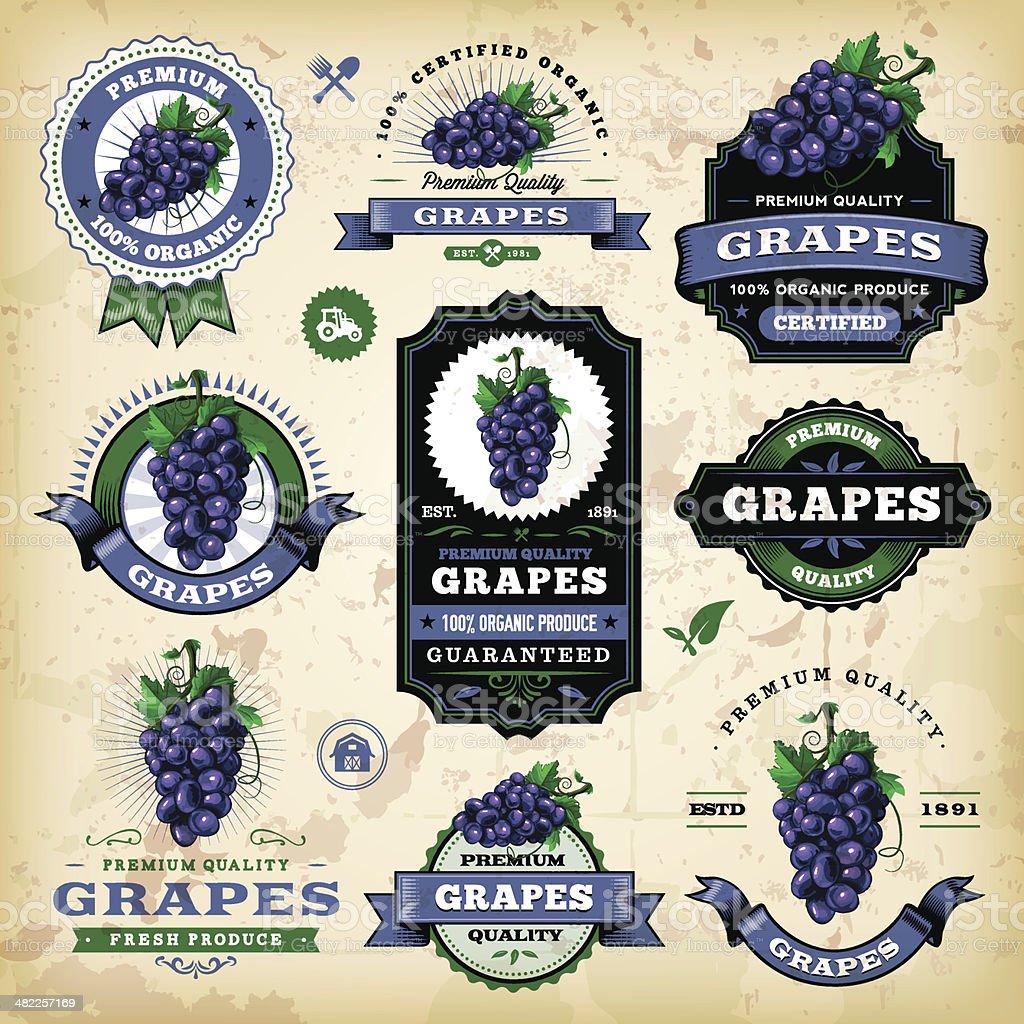 Vintage Grapes Labels vector art illustration