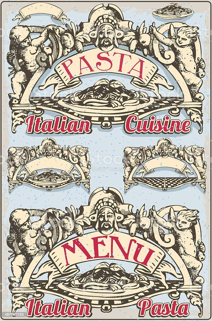 Vintage Graphic Element for Italian Pasta Menu royalty-free stock vector art