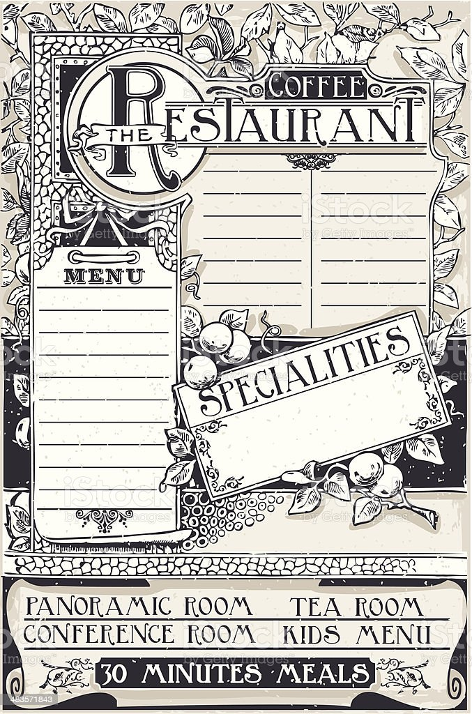 Vintage Graphic Page Menu for Restaurant royalty-free stock vector art