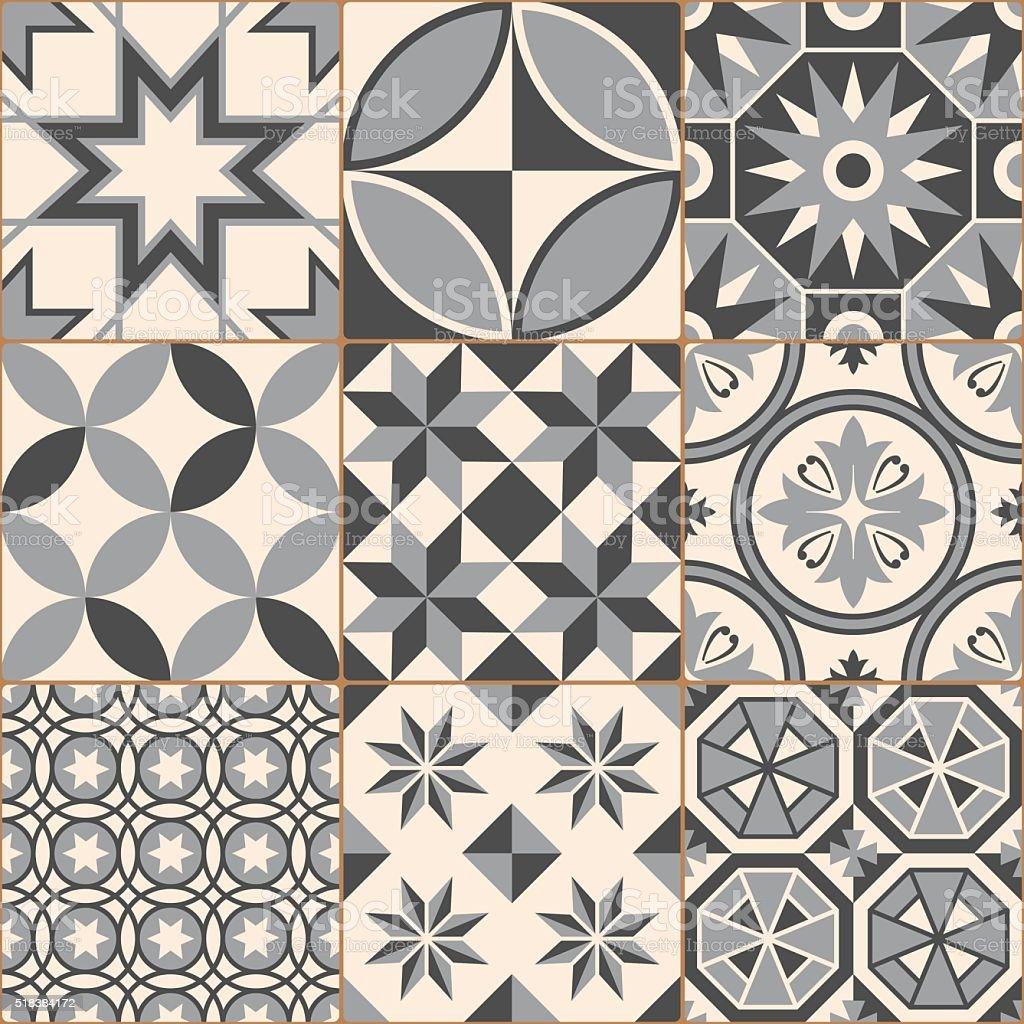 Vintage Gray Mosaic Porcelain Tiles Seamless Pattern vector art illustration