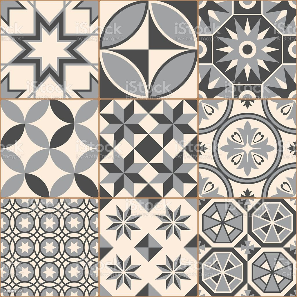 Vintage Gray Mosaic Porcelain Tiles Seamless Pattern vector art illustration