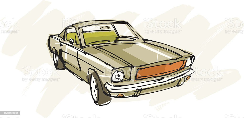 Vintage green car vector art illustration