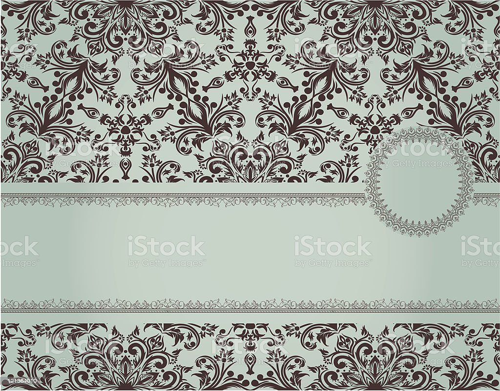 Vintage green frame on seamless background royalty-free stock vector art