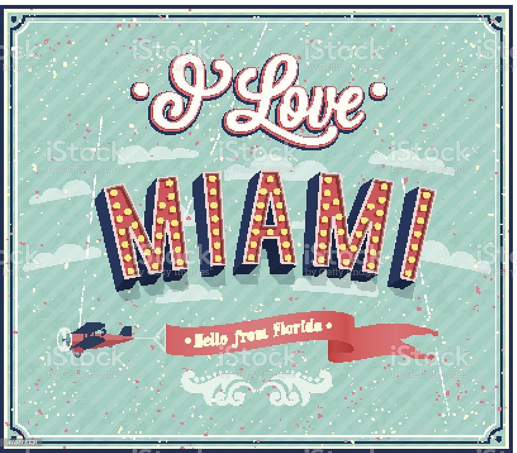 Vintage greeting card from Miami - Florida. vector art illustration