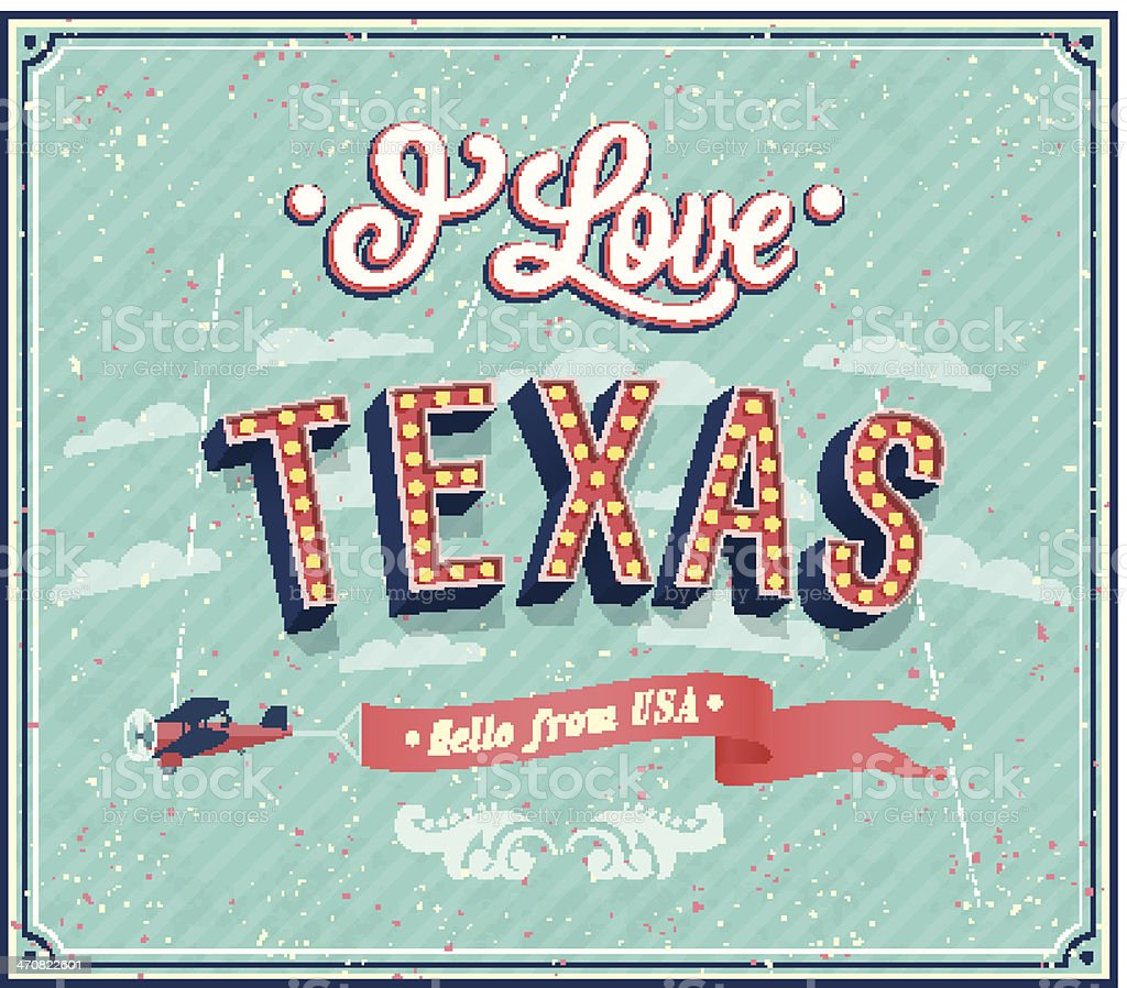Vintage greeting card from Texas - USA. vector art illustration