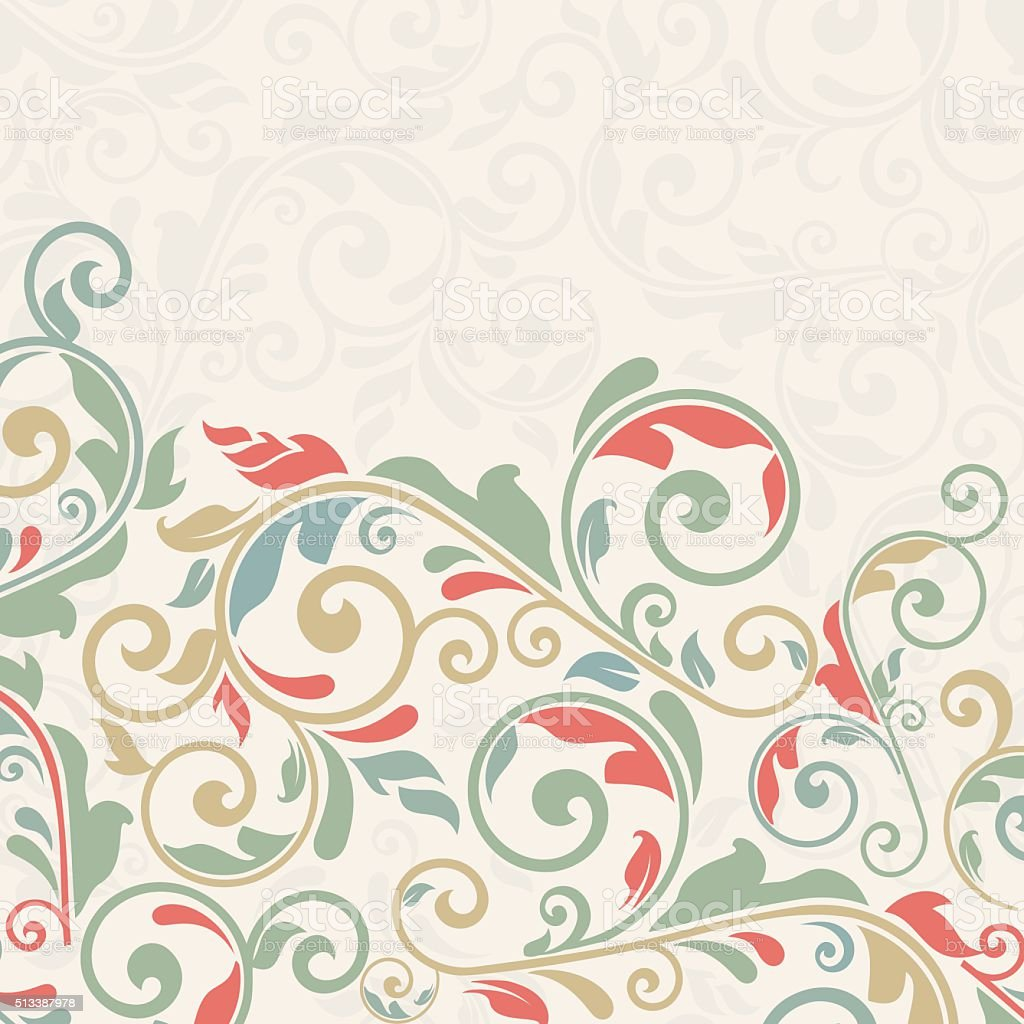vintage greeting card, invitation with floral ornaments vector art illustration