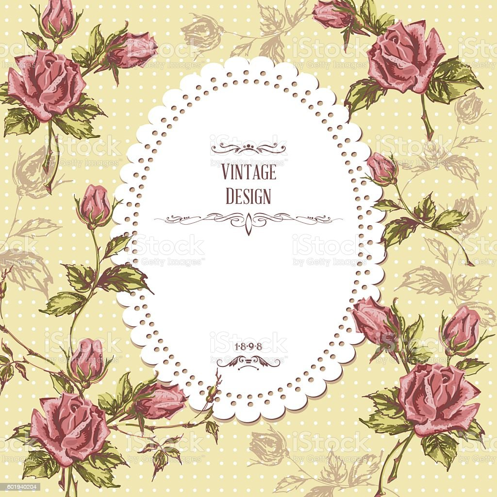 vintage greeting card vector art illustration