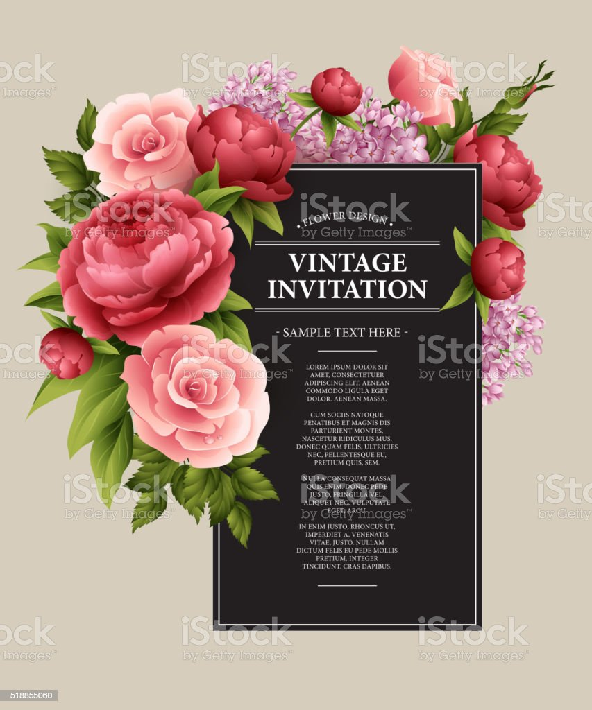 Vintage  Greeting Card with Blooming Flowers.  Vector Illustration vector art illustration